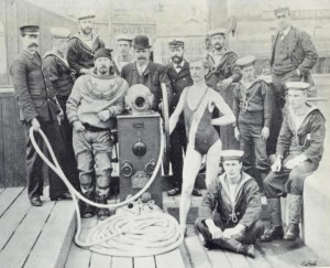Alexander Lambert - centre, in bowler hat - at the 1891 Royal Naval Exhibition