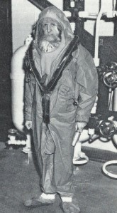 A mid-'60's prototype of a HIS (Hood Inflation System) Suit for submarine escape.
