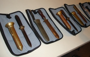 Various knives once favoured by standard dress divers